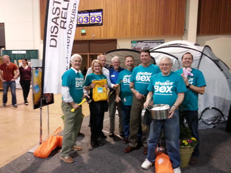 Delta's Shelterbox booth at the Eugene Down to Earth Home Show.  Raising $20,000 + annually for Shelterbox
